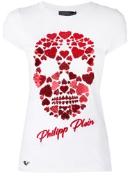 Philipp Plein Heart Skull T Shirt Women Cotton Polyester M White