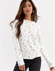 Daisy Street Long Sleeve Top In Floral Print Waffle White