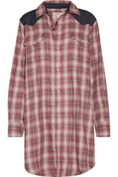 Current Elliott The Western Denim Paneled Plaid Flannel Mini Shirt Dress Red