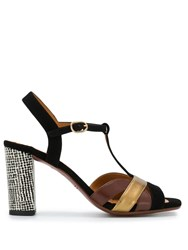 Chie Mihara Colour Block Sandals Black
