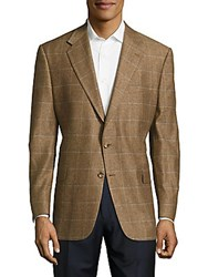 Hickey Freeman Checkered Two Button Jacket Brown