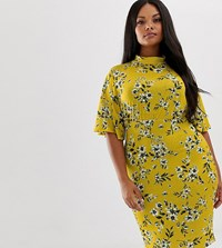 Pink Clove High Neck Midi Dress With Flutter Sleeves In Vintage Floral Yellow