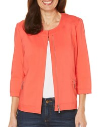Rafaella Petite Jewelneck Satin Twill Jacket Bright Coral