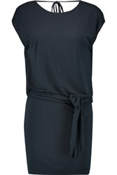 Haute Hippie Draped Wrap Effect Modal Jersey Mini Dress Midnight Blue