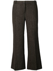 Kiltie Super Flare Cropped Trousers Brown