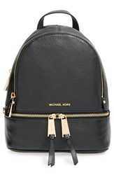 Michael Michael Kors 'Small Rhea Zip' Leather Backpack Black