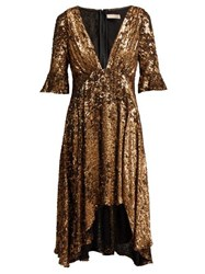 Maria Lucia Hohan Arielle Sequinned Midi Dress Bronze