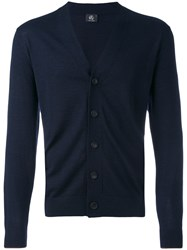 Paul Smith Ps By V Neck Cardigan Men Merino M Blue