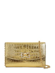 Dolce And Gabbana Croc Embossed Leather Bag Gold