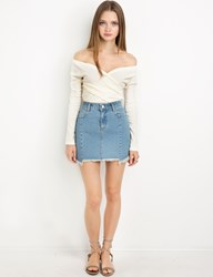 Pixie Market Ivory Ribbed Wrap Ots Top By New Revival