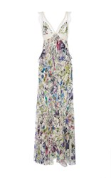 Roberto Cavalli White Multi Astro Garden Georgette Dress Floral