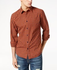 American Rag Men's Faded Check Shirt Created For Macy's Sharp Cheddar