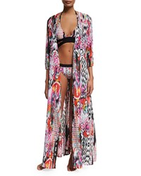Seafolly Beach Gypsy Printed Wrap Maxi Coverup Nectarine