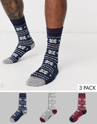 Penguin Festive Socks With Fairisle Print 3 Pack Multi
