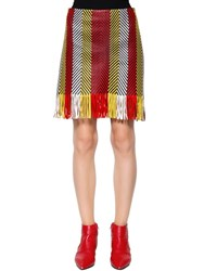 Drome Woven And Fringed Nappa Leather Mini Skirt Multicolor