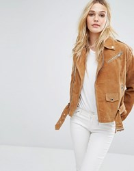 Noisy May Suede Biker Jacket Tabacco Brown Tan
