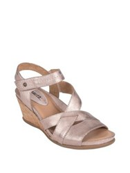 Earth Thistle Leather Wedge Sandals Pink