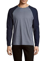 Vince Camuto Cotton Blend Long Sleeve Tee Blue