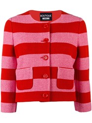 Boutique Moschino Striped Cropped Jacket Red