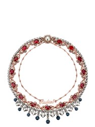 Mawi Tiered Ruby Slogan Necklace Gold