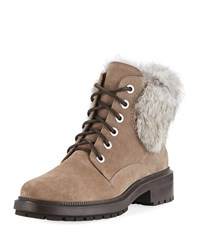 Aquatalia By Marvin K Lacey Suede Combat Boots W Fur Trim Taupe