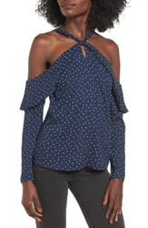 Wayf Women's Nola Ruffle Cold Shoulder Top Navy Polka Dot