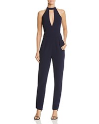 Lucy Paris Lace Trim Keyhole Jumpsuit Navy
