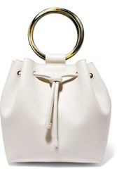 Theory Drawstring Leather Tote Cream