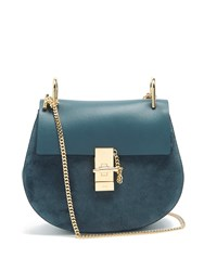 Chloe Drew Small Suede And Leather Cross Body Bag Blue