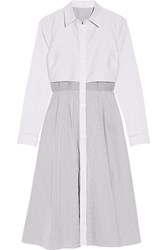 Tome Cutout Striped Stretch Cotton Blend Poplin Shirt Dress White Blue
