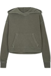 James Perse Cropped Cotton Jersey Hoodie Green