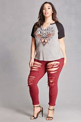 Forever 21 Plus Size Distressed Ankle Jeans