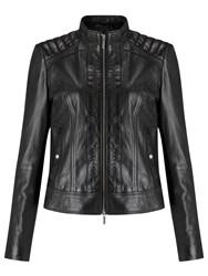 Hugo Boss Orange Janabelle Leather Jacket Black