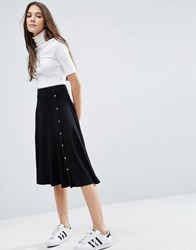 Asos Midi Skirt With Asymmetric Poppers Black