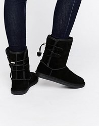 Call It Spring Bridia Tie Back Black Nubuck Boots Black Nubuck