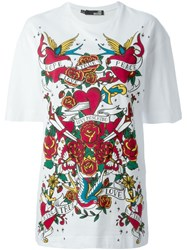 Love Moschino Tattoo Print T Shirt White
