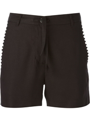 Ann Demeulemeester Embroidered Trim Tie Shorts Black