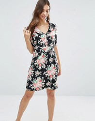 Trollied Dolly Time For Tea Floral Print Dress Black