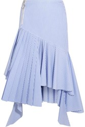 Off White Ruffled Striped Cotton Midi Skirt Light Blue