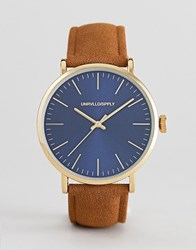 e336d8b4e70509 Asos Design Watch With Tan Faux Suede Strap And Contrast Navy Dial