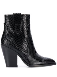 Ash Esquire Snakeskin Effect Ankle Boots Black