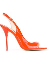 Sophia Webster 'Claudie Neon Orange' Sling Back Asymmetrical Pumps Yellow And Orange
