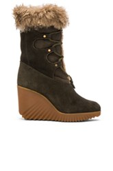 Chloe Suede Foster Wedge Boots In Green