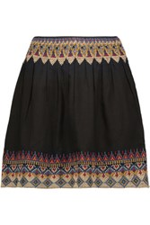 Joie Lilith Embroidered Cotton Broadcloth Mini Skirt Black