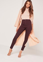 Missguided Caroline Receveur High Waisted Skinny Jeans Burgundy