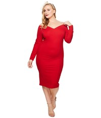 Unique Vintage Plus Size Long Sleeved Cape Cod Wiggle Dress Red