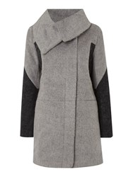 Label Lab Colour Block Brushed Coat Charcoal