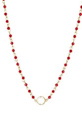 Nordstrom Rack Rosary Glass Bead Necklace Red