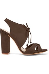 Schutz Gracy Suede Sandals Dark Brown