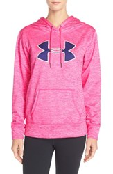 Women's Under Armour 'Big Logo' Twist Water Resistant Hoodie Rebel Pink Europa Purple